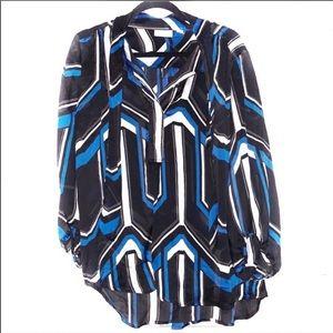 Large New York & Company Black Blue & White Blouse